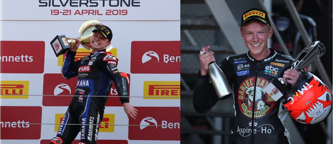 Tarran and Taylor Mackenzie celebrate a great weekend at Silverstone BSB racing